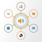Music Flat Icons Set. Collection Of Controlling, Dj, Audio And Other Elements. Also Includes Symbols Such As Music Royalty Free Stock Photography