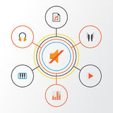 Music Flat Icons Set. Collection Of Controlling, Media, Pianoforte And Other Elements. Also Includes Symbols Such As. Music Flat Icons Set. Collection Of Royalty Free Stock Image