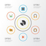 Music Flat Icons Set. Collection Of Ear Muffs, Button, Loudspeaker And Other Elements. Also Includes Symbols Such As Stock Photos