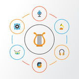 Music Flat Icons Set. Collection Of Male, Band, Ear Muffs Elements. Also Includes Symbols Such As Microphone, Earpiece Royalty Free Stock Photos