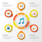 Music Flat Icons Set. Collection Of Portfolio, Audio, Tone And Other Elements. Also Includes Symbols Such As Frequency. Music Flat Icons Set. Collection Of Royalty Free Stock Photography