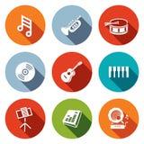 Music flat icons set Stock Photo