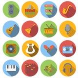 Music flat icons set Stock Photos