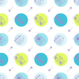 Music flat line retro seamless pattern with Royalty Free Stock Image