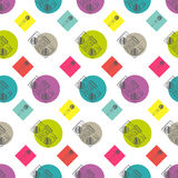 Music flat line retro seamless pattern with Stock Photo