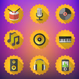 Music Flat Vector Icon Set. Include speaker, mic, vinyl, mp3 pla Stock Photos