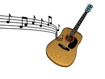 Music floating country folk guitar. 3d white isolated ecountry folk guitar with notes in the air vector illustration