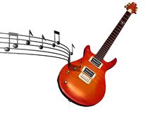 Music floating electric guitar royalty free stock photography