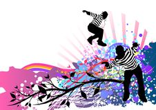 Music Flux. Jumping people on a colourful design background stock illustration