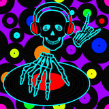Music flyer or background with Dj skull Royalty Free Stock Image