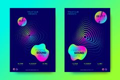 Music Flyers Set with Wave Lines and Distortion. royalty free illustration