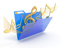 Music folder. Golden music symbols in a blue folder Royalty Free Stock Photo