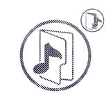 Music folder icon with halftone dots print texture. Stock Photos