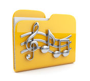 Music folder with note symbols.  Icon 3D. Yellow music folder with note symbols.  Icon 3D. Isolated on white background Stock Photo