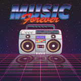 Music Forever Poster. With retro tape recorder on glassy floor on starry sky background flat vector illustration Royalty Free Stock Image