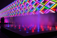 Music fountain and building led exterior wall Royalty Free Stock Photos