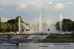 The music fountain in Gorky Park in Moscow city, Russia Royalty Free Stock Photography