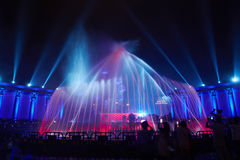 Music fountain lighting show club party Stock Image