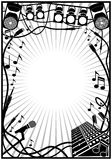 Music frame. Music and sound element inside a border Royalty Free Stock Image
