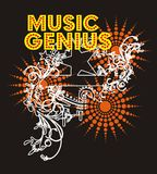 Music Genius. Consisting of stars in the style of baroque disco graphic design Stock Illustration