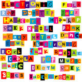 Music genres made of colorful letters Royalty Free Stock Photography