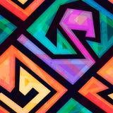 Music geometric seamless pattern with grunge effect Royalty Free Stock Photo
