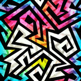 Music geometric seamless pattern with grunge effect Stock Photos