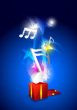 Music from gift box Stock Photos