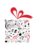 Music gift. Music concept  of gift box with red ribbon and full of music notes Royalty Free Stock Image