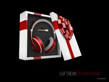 Music gift concept. Headphones in gift box, 3d Illustration Stock Photo