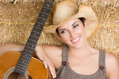 Music Girl. Pretty country music girl smiling Royalty Free Stock Photo