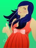 Music girl. Girl listening to music in a dress vector illustration
