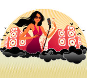 Music girl. Illustration drawing of music girl Stock Illustration