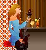 Music girl. Illustration drawing of music girl Royalty Free Illustration