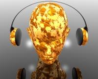 Music Girl. Music strange girl with headphone createve background Royalty Free Stock Photos