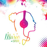 Music Girl. Abstract colorful ,girl silhouette from headphone cord ,music concept background Royalty Free Stock Photography