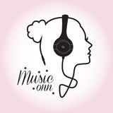 Music Girl. Abstract ,girl silhouette from headphone cord ,music concept background vector illustration
