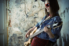 Music girl with guitar. Young beauty music girl with guitar Stock Photography
