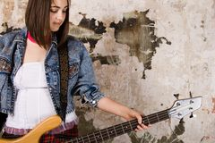 Music girl with guitar Royalty Free Stock Photography