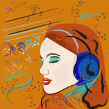 Music girl. Illustration of hand drawn music girl Royalty Free Stock Image