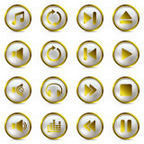 Music gold icons set Stock Photography