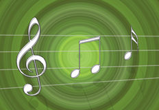 Music Green. Chrome metal steel music notes on green gradient background stock illustration