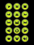 Music green buttons Stock Photos