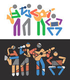 Music groups colorful cartoons Royalty Free Stock Photography