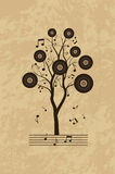Music grunge  background with tree Stock Image