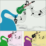 Music of the guitar. Illustration of a fairy play guitar, shows stave Stock Images