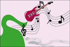 Music guitar. Guitar playing music at the same time emitting a green road magic Royalty Free Stock Photo