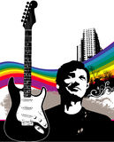 Music and Guitar Background. With a young man and a rainbow. Layout for a concert or music flier stock illustration