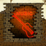 Music and guitar neon light in the doorway of brick wall Stock Photography