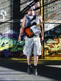 Music guitar player outdoor Stock Images
